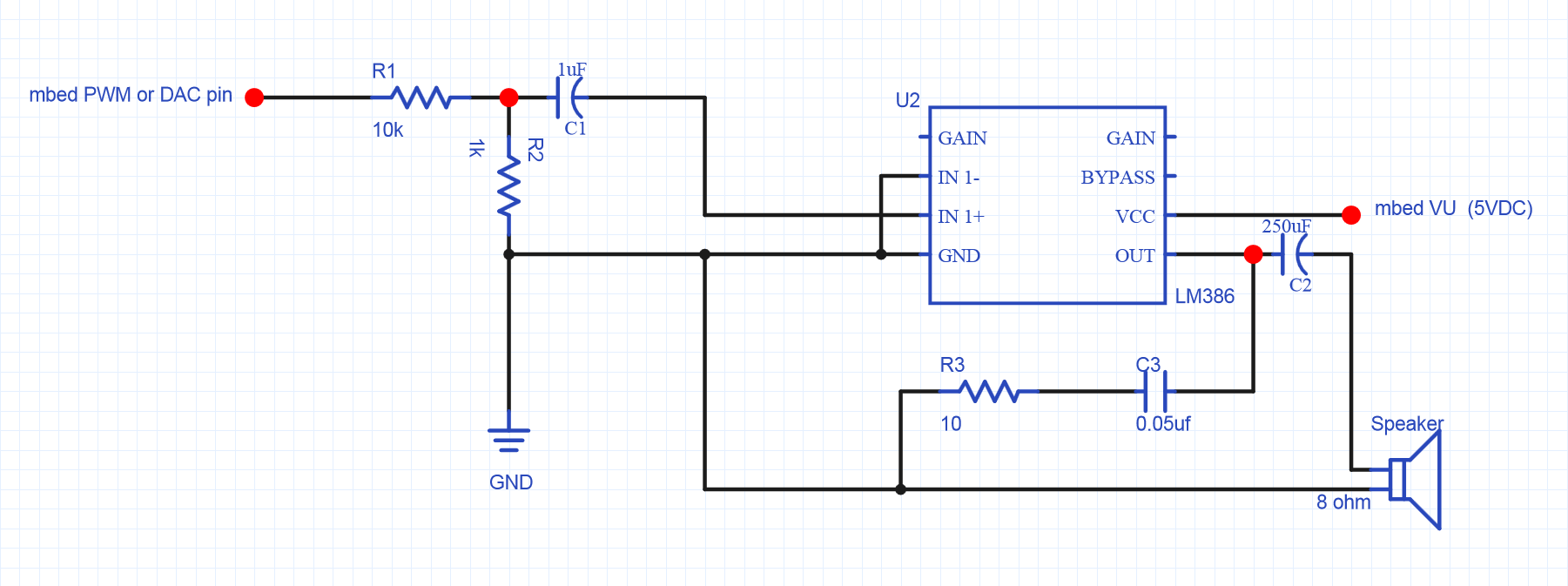 8 ohm speaker wiring diagrams xlr connector diagram using a for audio output mbed lm386 amplifier circuit small 8ohm 5w smaller value r1 can be used to increase the volume