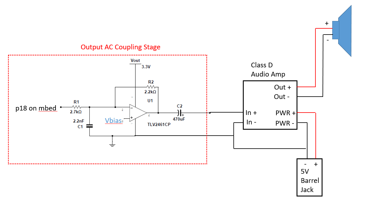 hight resolution of output ac coupling circuit and audio amp with speaker output
