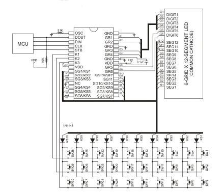 PT6961 LED controller (77 LEDs max), Keyboard scan (30