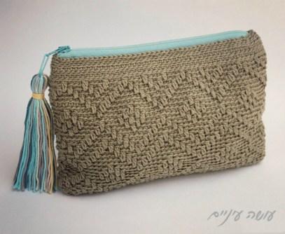 עושה עיניים - פספסים - ארנקים בטקסטורות - מעויינים    Osa Einaim - Passpasim - Crochet textured purses pattern