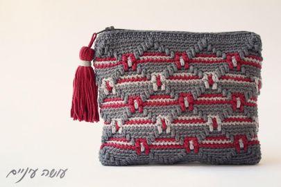 עושה עיניים - ארנק בדוגמת אוברליי מעויינים    Osa Einaim - Crochet overlay purse
