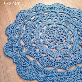 שטיח מחוטי טריקו - עושה עיניים || T-shirt yarn / Trapillo - Crochet doily rug || by OsaEinaim