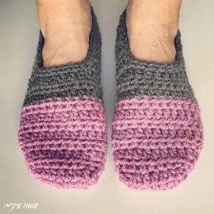 עושה עיניים - נעלי בית סרוגות || Crochet slippers, by Osa Einaim