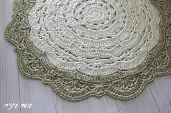 עושה עיניים - סנורקה לארג' - שטיח דויילי מחוטי טריקו || Osa Einaim - Snorka large crochet t-shirt yarn trapillo doily rug pattern