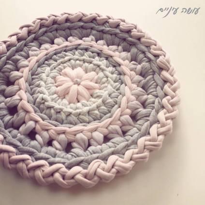 עושה עיניים - פרוייקט תחת - תחתית לסיר סרוגה מחוטי טריקו || OsaEinaim - Crochet T-shirt yarn potholder