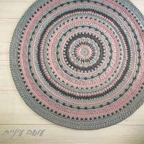 עושה עיניים - מנדלונה,, דוגמת שטיח סרוג מחוטי טריקו || Osa Einaim - Mandalone - crochet t-shirt yarn rug pattern