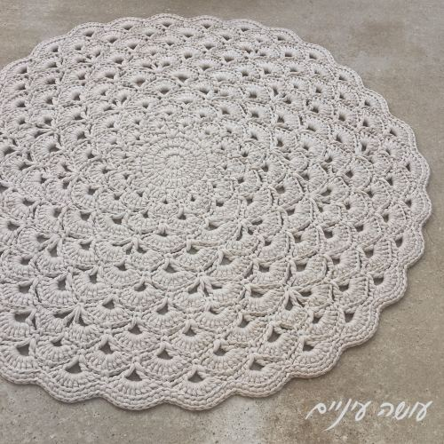 עושה עיניים - הוראות לסריגת שטיח מניפות מחוטי טריקו || Osa Einaim - Lotus flower rug - crochet t-shirt yarn rug