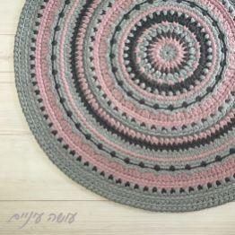 עושה עיניים - מנדלונה,, דוגמת שטיח סרוג מחוטי טריקו    Osa Einaim - Mandalone - crochet t-shirt yarn rug pattern