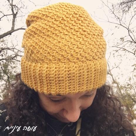 עושה עיניים - כובע סרוג בסריגה טוניסאית    Osa Einaim - tunisian crochet hat