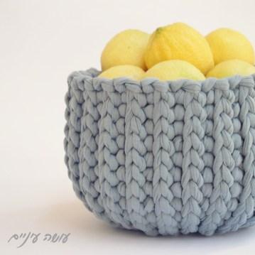 עושה עיניים - הוראות לסריגת סלסלה בשורות מקוצרות מחוטי טריקו || Osa Einaim - Short rows crochet basket