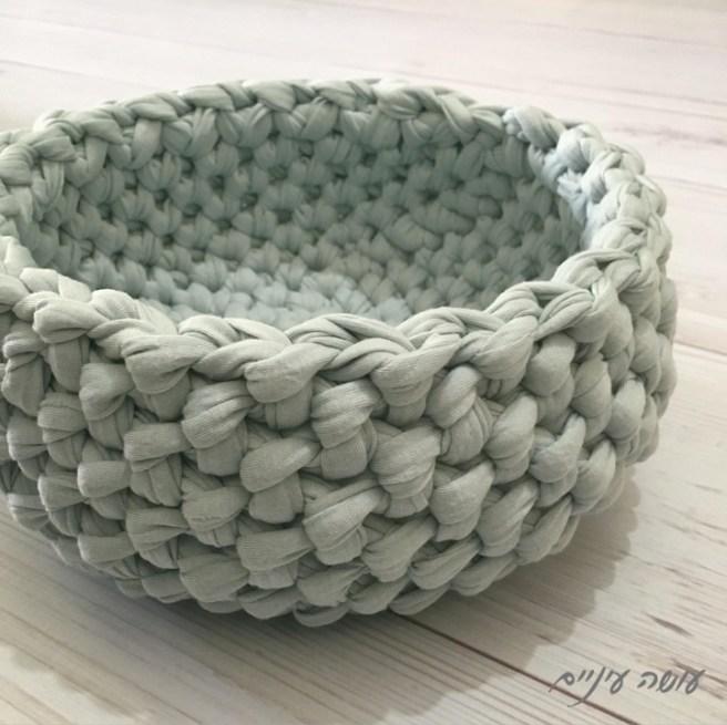 עושה עיניים - סלסלה ארוגה, סרוגה מחוטי טריקו || Osa Einaim - Crochet woven basket t-shirt yarn trapillo