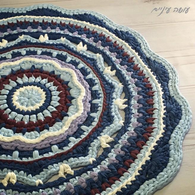 עושה עיניים - שטיח מנדלת טריקו סרוג || Osa Einaim - t-shirt yarn trapillo crohet mandala rug