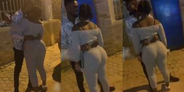 Yaa Jackson's brother spotted grinding his girlfriend's huge backside on the street