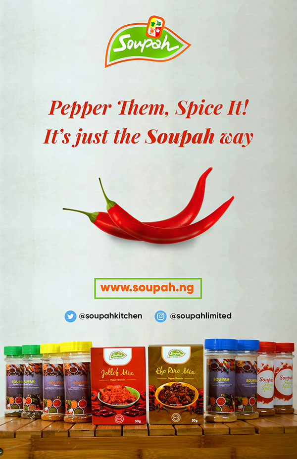 Soupah Foods Banner with pepper and spices