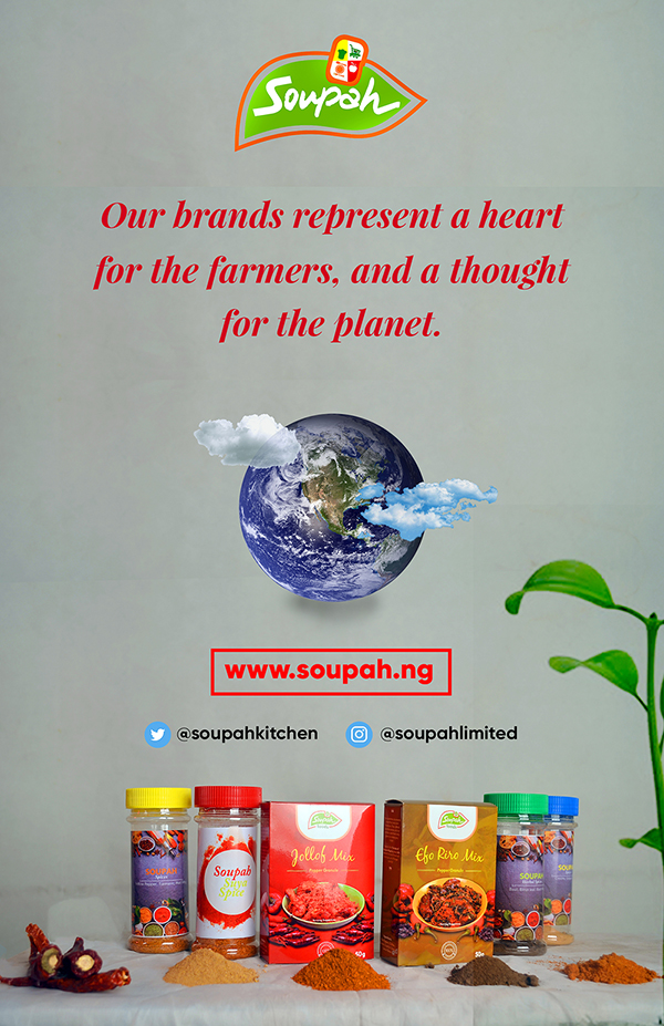 Soupah Foods Banner with pepper and spices and an image of the cloudy earth
