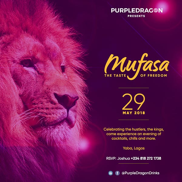 advert for purple dragon new cocktail mufasa