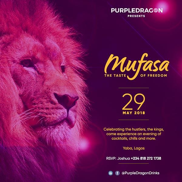 advert for purple dragon new cocktail mufasa