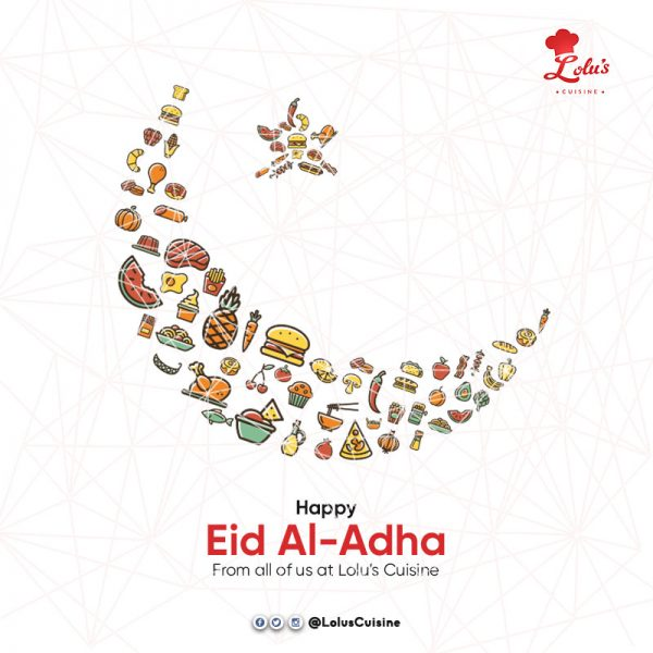 icons of food arranged to look like the muslim crescent symbol with happy eid al-adha below