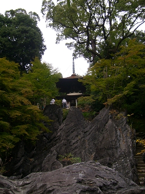 Pagoda atop jagged rocks at Ishiyama-dera
