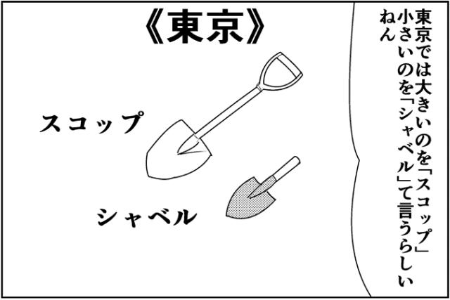 東京では大きいのを「スコップ」小さいのを「シャベル」て言うらしいねん