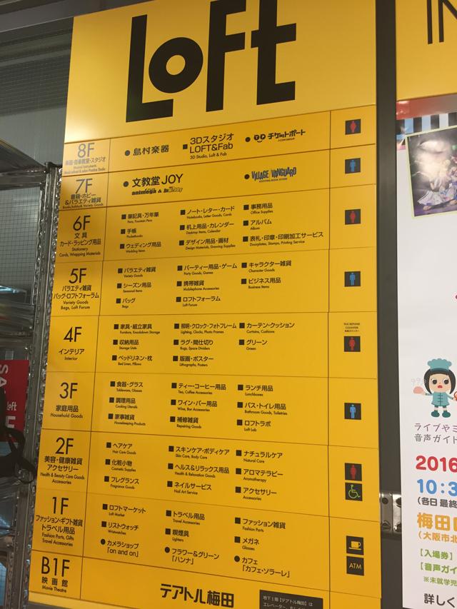 梅田LOFTフロアマップ
