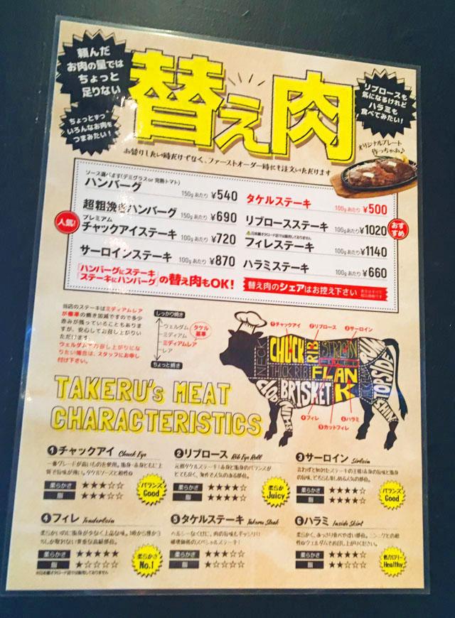 タケル,ステーキ,替え肉の説明,