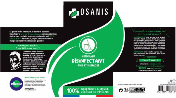 OSANIS Nettoyant Désinfectant Sols etiquette