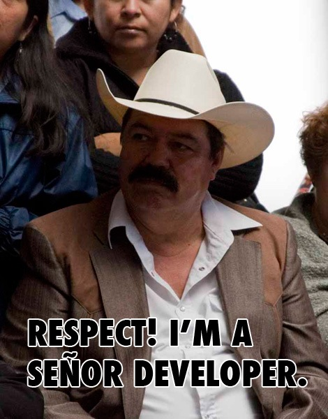"""Foto de um fazendeiro mexicano usando chapeu e com um bigode bem grosso com a legenda """"Respect! I'm a señor developer"""""""