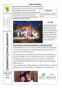 Newsletter 15.04.16