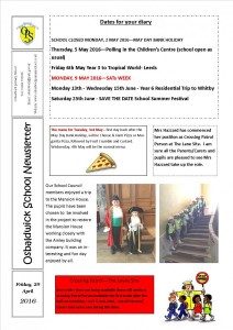 Newsletter 29.04.16