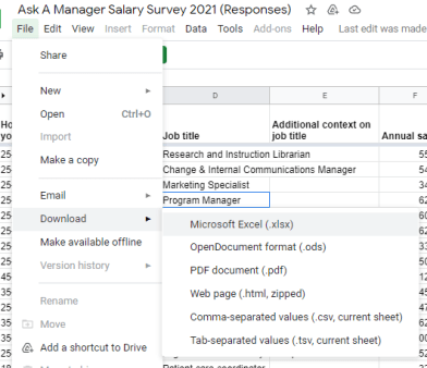 File menu from google sheets showing the dropdowns to download the data which is in order: File, Download and then a  selection of format options like XLS, CSV etc.