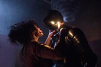 Les Bâtards Dorés - 100 millions qui tombent, filage au Théâtre de la Cité (TNT), Toulouse. Création lumière Lucien Valle. Lisa Hours & Romain Grard.