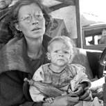 Mother and baby of family on the road. Tulelake, Siskiyou County, California, 1939. Dorothea Lange
