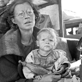 Mother and baby of family on the road. Tulelake, Siskiyou County, California, 1939. Dorothea Lange