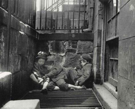 Nomads of the Street Street Boys in Sleeping Quarters c1880-90s. Jacob Riis