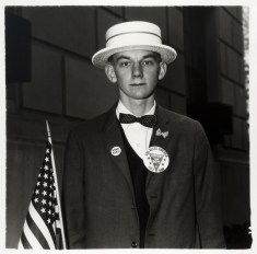 Boy with a straw hat waiting to march in a pro-war parade, N.Y.C. 1967 Diane Arbus