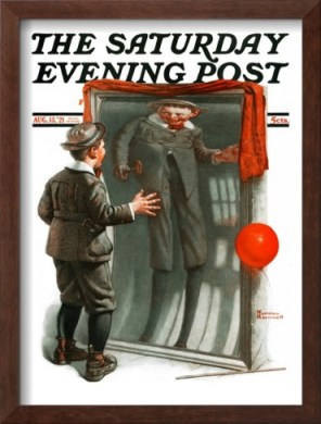 """Boy in Mirror"" o ""Distortion"". Portada el ""Saturday Evening Post"" ilustrada por Norman Rockwell. 13 de agosto, 1921"