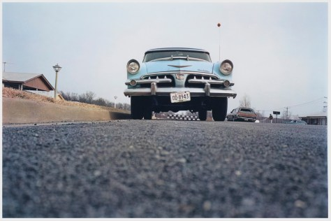 R44 Eggleston, Untitled, blue car on suburban street 002