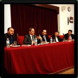 De izquierda a derecha: Ulises Castellanos, Mariano Navarro, Óscar Colorado, José Luis Ortiz, Jacinto Valdés. Fotografía cortesía de Montserrat Valdés