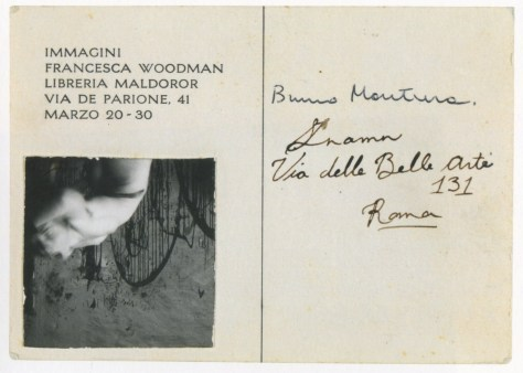 Rome Italy 1978 invitation for the exhibition Immagini fRancesca Woodman in Libreria Maldoror-1