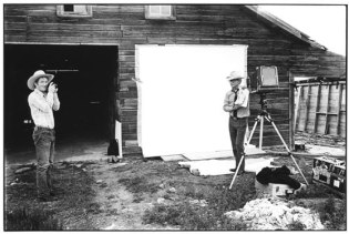 Rancher Richard Wheatcroft photographs Avedon, on his ranch in Jordan, Montana.