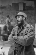 Havana. Private interview granted by Fidel CASTRO in his office at the Presidential Palace. On the wall behind him, is a photo mural showing Castro speaking on Place Marti (the Havana Declaration).