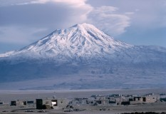 TURKEY. Eastern Anatolia. 1988. Volcanic cone Mount Ararat (also known as Agri Dagi), highest mountain in Turkey at 5137m.