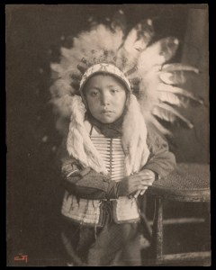Print. Willie Spotted Horse, Sioux Indian child, by Gertrude Kasebier. PG*69.236.082, PG*69.236.084. Image modified by curatorial staff.