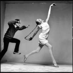 Richard Avedon y Veruschka por Jacques Henri Lartigue