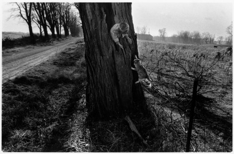 CANADA. Lambton County, Ontario. 1990. Naomi TOWELL with her cat in a hollow black locust tree.