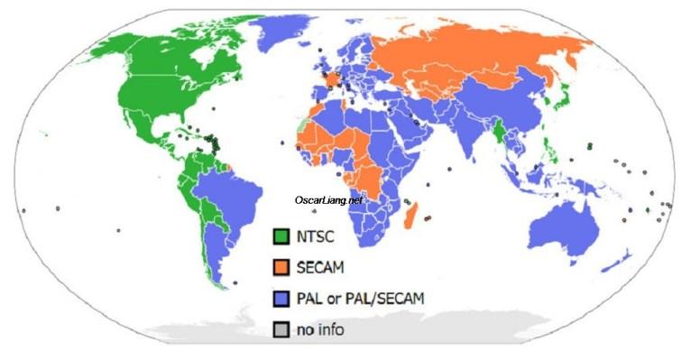Diffusione dei formati PAL e NTSC