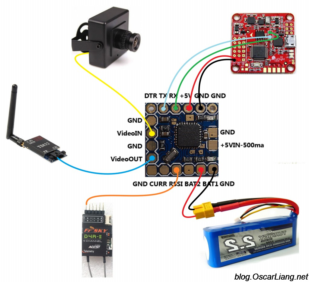 fpv gauge wiring diagram skoda octavia monitor battery voltage decide when to land oscar liang built in sensor flight controllers cameras and osd