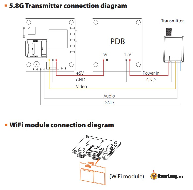 fpv transmitter wiring diagram xlr to 1 4 stereo review runcam split hd camera oscar liang connection between vtx pdb and wifi module the takes 650ma current when recording tested you definitely want make sure your 5v supply is