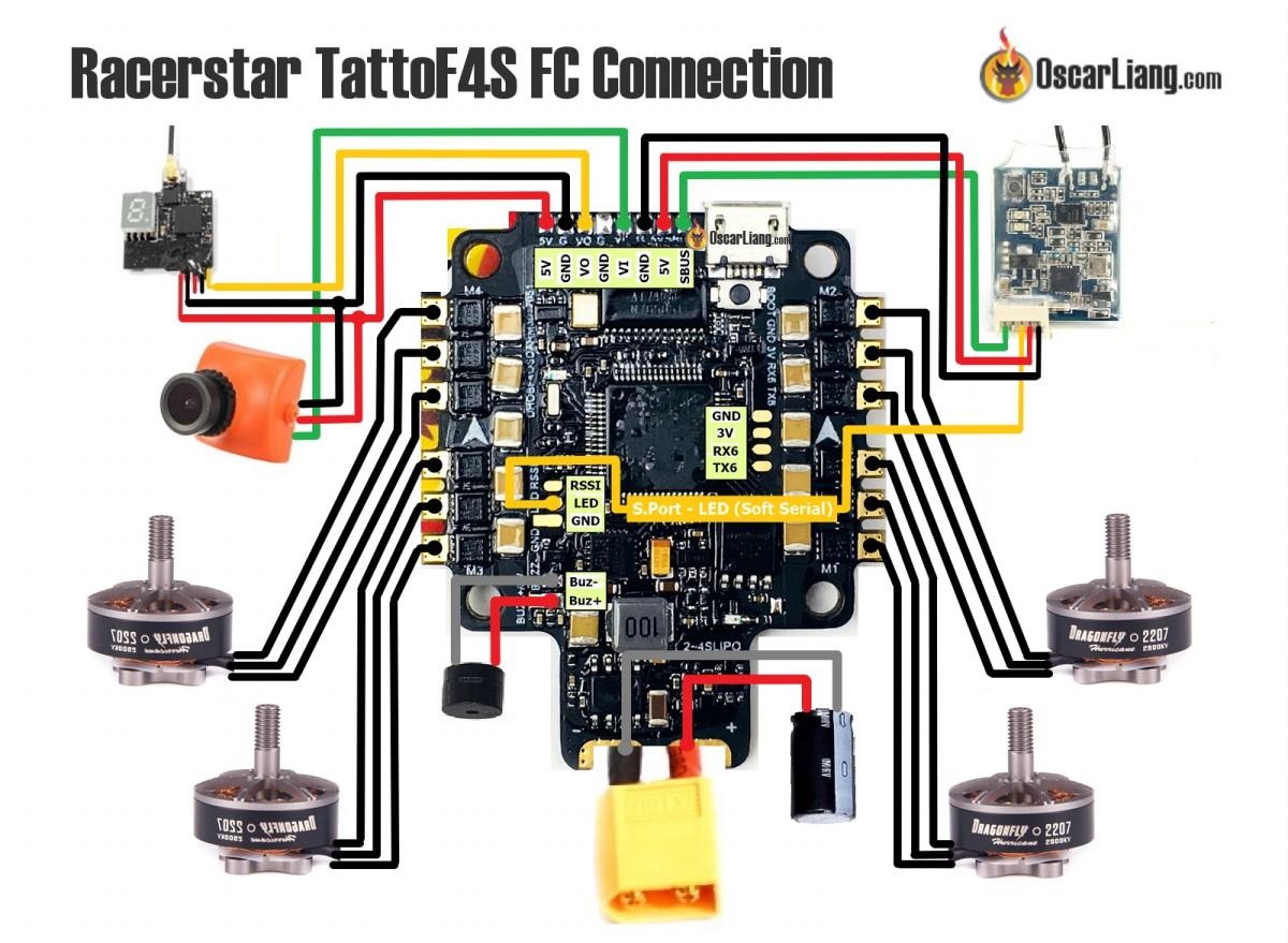 4 wire motor connection diagram 1987 ez go golf cart wiring review: racerstar tattoof4s fc - esc integrated flight controller oscar liang